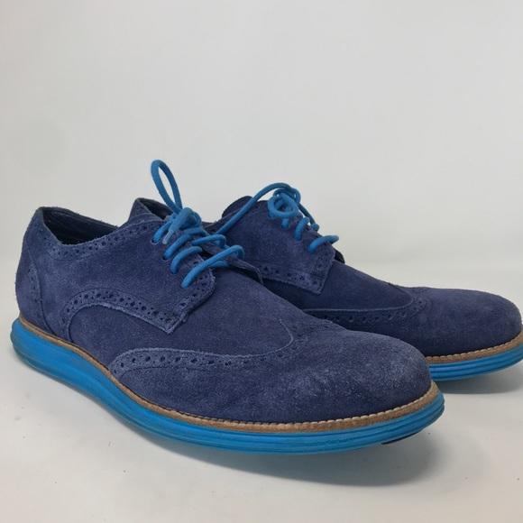 Cole Haan Mens Blue Suede Oxford Shoes